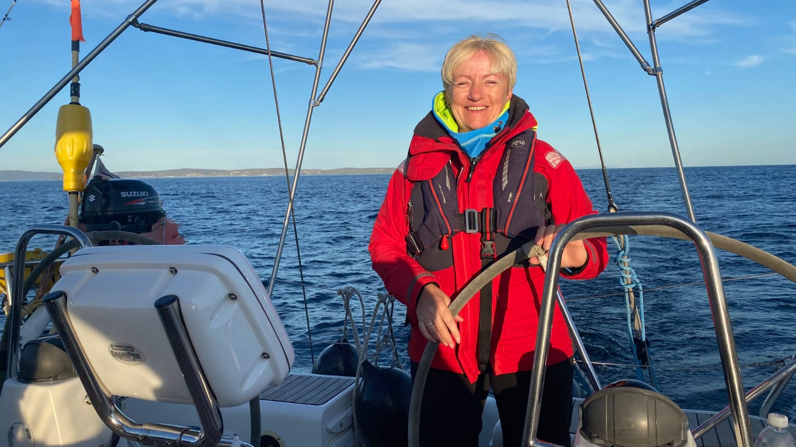 North Star on voyage to St. Kilda, Lady at tje helm