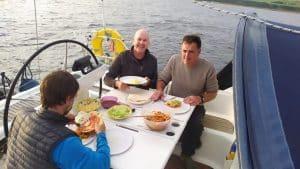 Bavaria 44 North Star dinner at cockpit