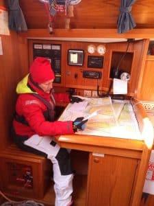 Bavaria 44 North Star sailor at chart table